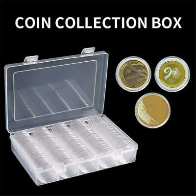 100Pcs 27mm Round Coin Cases Capsules Container Holder Storage Box Plastic nmk
