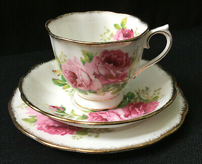Vintage Royal Albert American Beauty Rose Trio – Cup, Saucer & Plate VGC