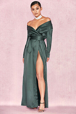 493f895c552c House of CB 'Antoinette' Evergreen Satin Off Shoulder Maxi Dress XS 6 / 8