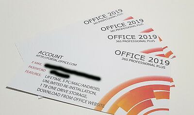 Lotto Stock - 4 X Office 2019 Professional Plus (365 Account) Key Card Lifetime