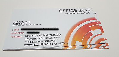 Office 2019 Professional Plus (365 Account) Key Card - Lifetime - 5 Pc