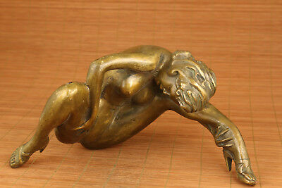 big chinese old bronze hand carved girl statue netsuke collectable home deco