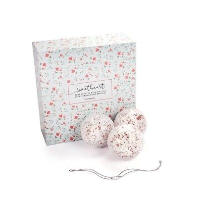 Gemporia Sweetheart Rose Scented Bath Fizz Set with Sterling Silver Bracelet