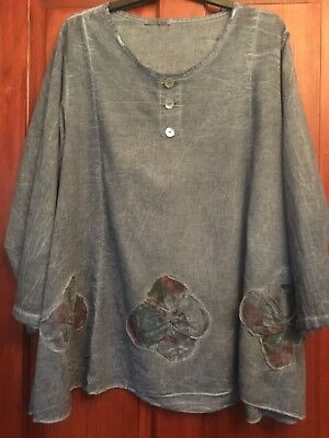 Womens Maternity Smock L Floral Italian Cotton Embossed See Measurements (B34)
