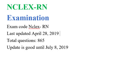 NCLEX RN ACTUAL EXAM TEST BANK OF REAL QUESTIONS & ANSWERS NCLEX 2019 ebook file