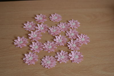 WEDDING STATIONERY 15 HAND MADE WHITE SHIMMER 3D FLOWERS CARD TOPPERS