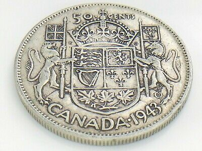 1943 Canada 50 Fifty Cent Half Dollar Circulated George VI Canadian Coin J223