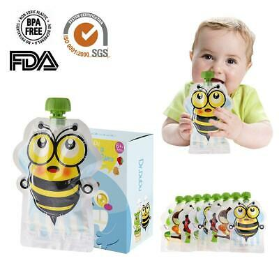 8xBPA-Free Resealable Squeeze Food Pouch Storage Bag DIY Baby Food Double Zipper