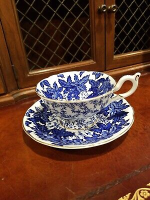 Vintage Coalport Blue Floral Cup & Saucer Gold Trim Bone China  Ad1750