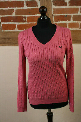 fe41bd8460a Crew Clothing Company Size Deep Pink Cotton Cashmere Cable Knit Jumper Size  10