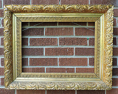 Antique VICTORIAN Gilt GOLD Heavy Compo Gesso LEAVES & FLOWERS Picture Frame