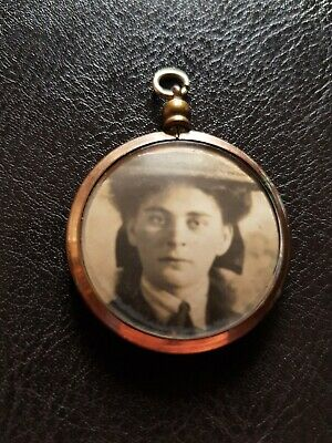 Antique Vintage Art Deco 1930S Rolled Gold Double Sided Family Photo Pendant ♡♡