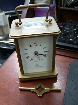 Matthew Norman 8 day Brass Carriage Clock. 11 Jewels (1754)- Working With Key..