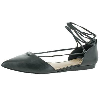 537966e3d657 Vince Camuto Hadia Womens Leather Pointed Toe Lace Up Flat Shoe Black Size 6