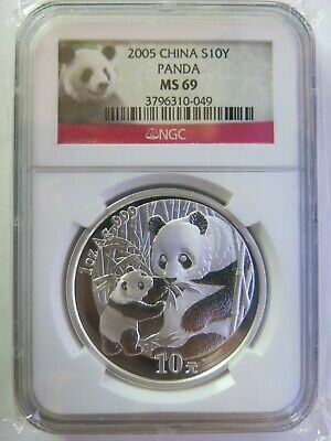 2005 1 oz China Silver Panda NGC MS69 10 Yuan Chinese Coin
