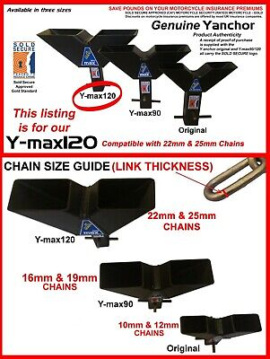 INSURANCE DISCOUNTS! Y-max120, MOTORCYCLE SECURITY GROUND ANCHOR. 25mm Chains