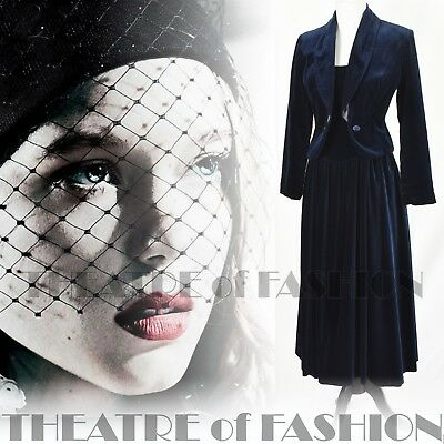 DRESS JACKET VELVET SUIT WEDDING 40s 50s VINTAGE LAURA ASHLEY VAMP FEMME FATALE