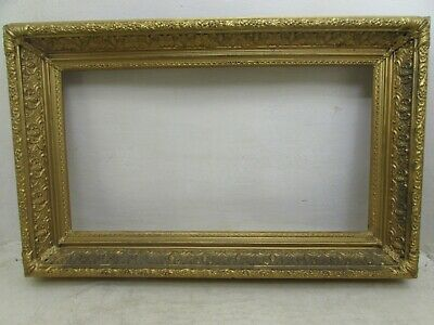 "Antique Victorian Highly Ornate Gilded Wood & Gesso Picture Frame For 14"" X 26"""