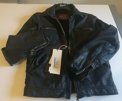 Stewart Giaccone Giubbino Jacket Pelle Leather New Derby Slim Black Old Glory M