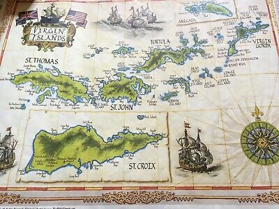 Virgin Islands Map St. Thomas, Tortola, St. John St. Croix Mint Never Displayed
