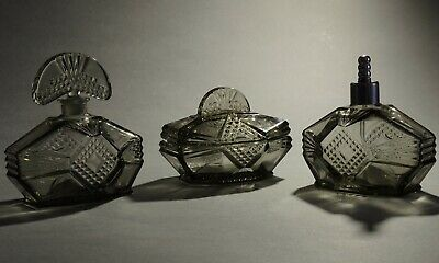 Art Deco Czech Bohemian Molded Grey Glass Perfume Set of 3 pieces