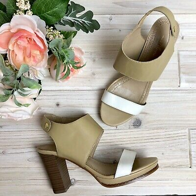 5daebb3b49b 7.5 Brooks Brothers 346 Leather Beige White Two Tone Strappy Block Heel  Sandal