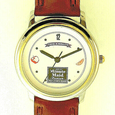 Fossil Minute Maid 'Take A Minute' Gold Silver Tone Case, Leather Band Watch $59