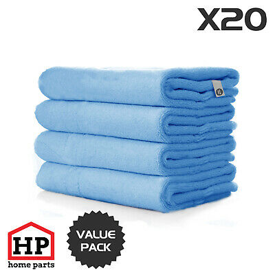 20 X Professional Washable Microfibre Cloths Extra-Large Super Thickness Blue