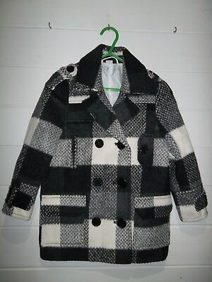 Figs Girls Coat ~ Size 3/4 Years ~ Black white check ~ Button fastening ~ 1932