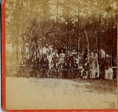 Portland Maine ?Old Orchard Beach? Group Photo c 1870s Stereoview