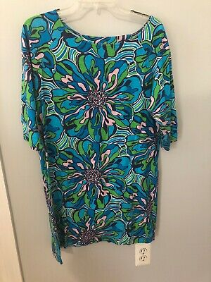 38a2cb2320 Lilly Pulitzer Jupiter Sweater Dress Lapis Blue Space Dye Size L cotton  wool.