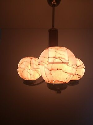 Antique Chandelier Art Deco, Geometrically Brown Marble Glass Shades, 1930s