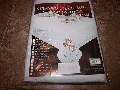 "Tobin Stamped Cross Stitch Embroidery Tablecloth A VERY FROSTY XMAS 50"" x 70"""