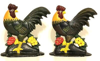 Cast Iron Rooster Chicken Farmhouse Animal Door Stop Book ends Farm Set of 2