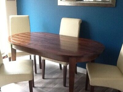 Solid Pine Dining Table And 4 Chairs Extendable To 6