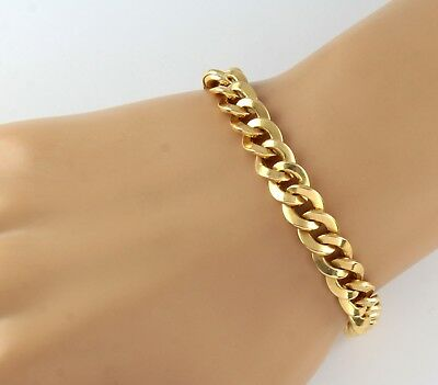 Vintage French Heavy Solid 18Ct Gold Twisted Curb Link Chain Bracelet , 35.7g