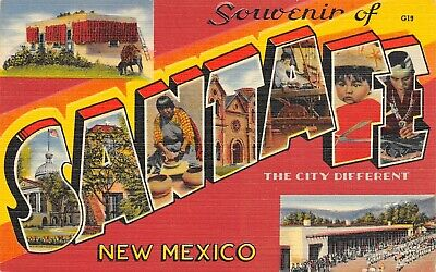 Santa Fe New Mexico~Large Letter Linen Postcard~Red Hot Chili Peppers Adobe~1940