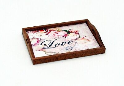 Dolls House Miniature Shabby Chic Tray Roses Flowers Bread Coffee Cake Rustic