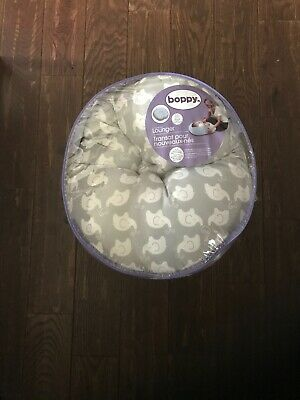 Boppy Newborn Lounger, Elephant Love Gray - Gently Used w/ Plastic Cover