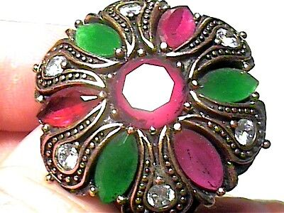 Ottoman emerald  SILVER RING 7.5 MEDIEVAL NATURAL STERLING 925 COCKTAIL OLD