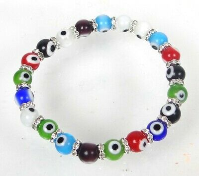 Evil Eye Stretch Bracelet Multi Color Glass with Rhinestones