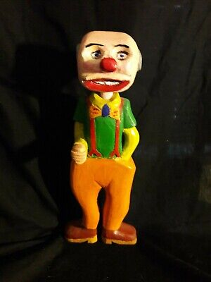Vintage Unique Comical Hand Carved Painted Wood Old Man Farmer Statuette