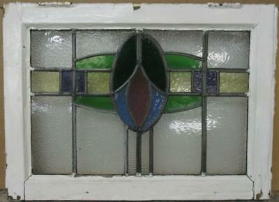 "OLD ENGLISH LEADED STAINED GLASS WINDOW Pretty Abstract Band Design 22"" x 16"""