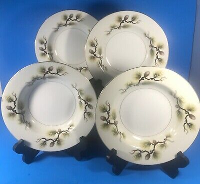 "Narumi Japan Pine Cones China Dinnerware 8 1/4"" Soup Bowl Set of 4"