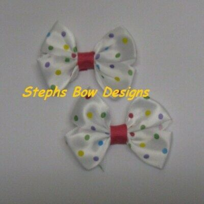 100 Satin Antenna Butterfly Applique 10 Bright Color//Polka Dots//bow//Craft H375