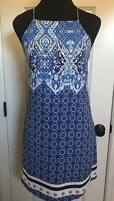 Skies Are Blue Size Small Halter Blouson White Blue Floral Design Dress