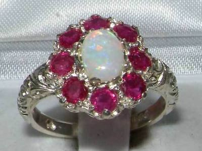 Solid English Sterling Silver Ladies Large Opal & Ruby Art Nouveau  Ring
