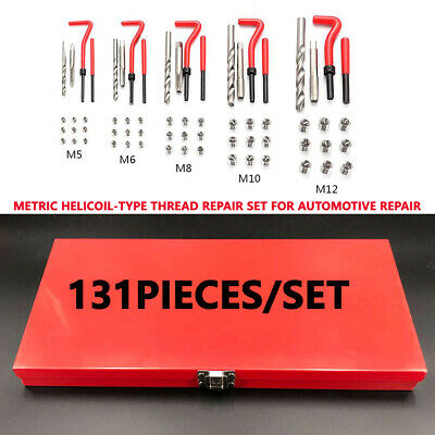 131pcs Automotive M5/M6/M8/M10/M12 Metric Thread Repair Insert Coil Helicoil Kit