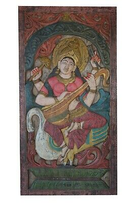 Vintage Wall Sculpture Hand Carved Saraswati Goddess Relief Panel CLEARANCE SALE