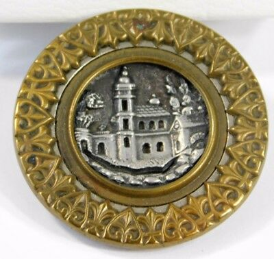Atq Victorian 2 Piece Steel Cut Church Castle Metal Button Picture Button 1 1/2""